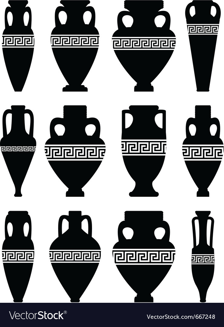 Ancient amphorae and vases vector