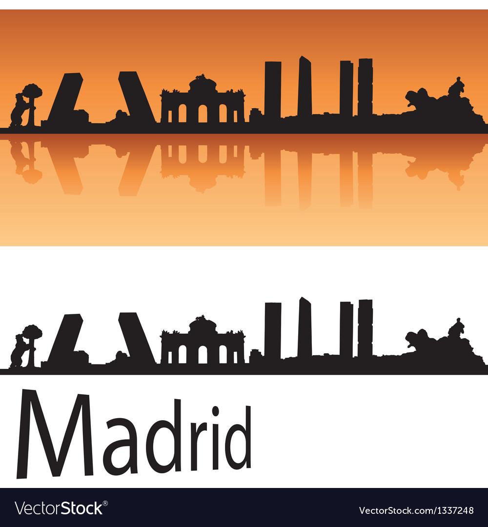 Madrid skyline in orange background vector