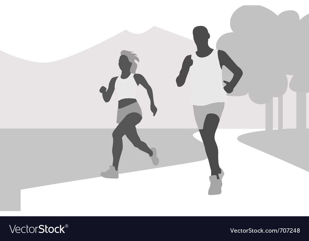 Running couple silhouette vector