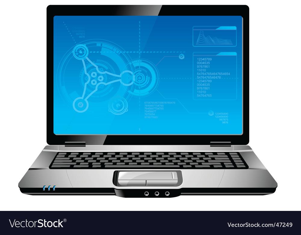 Blue laptop vector