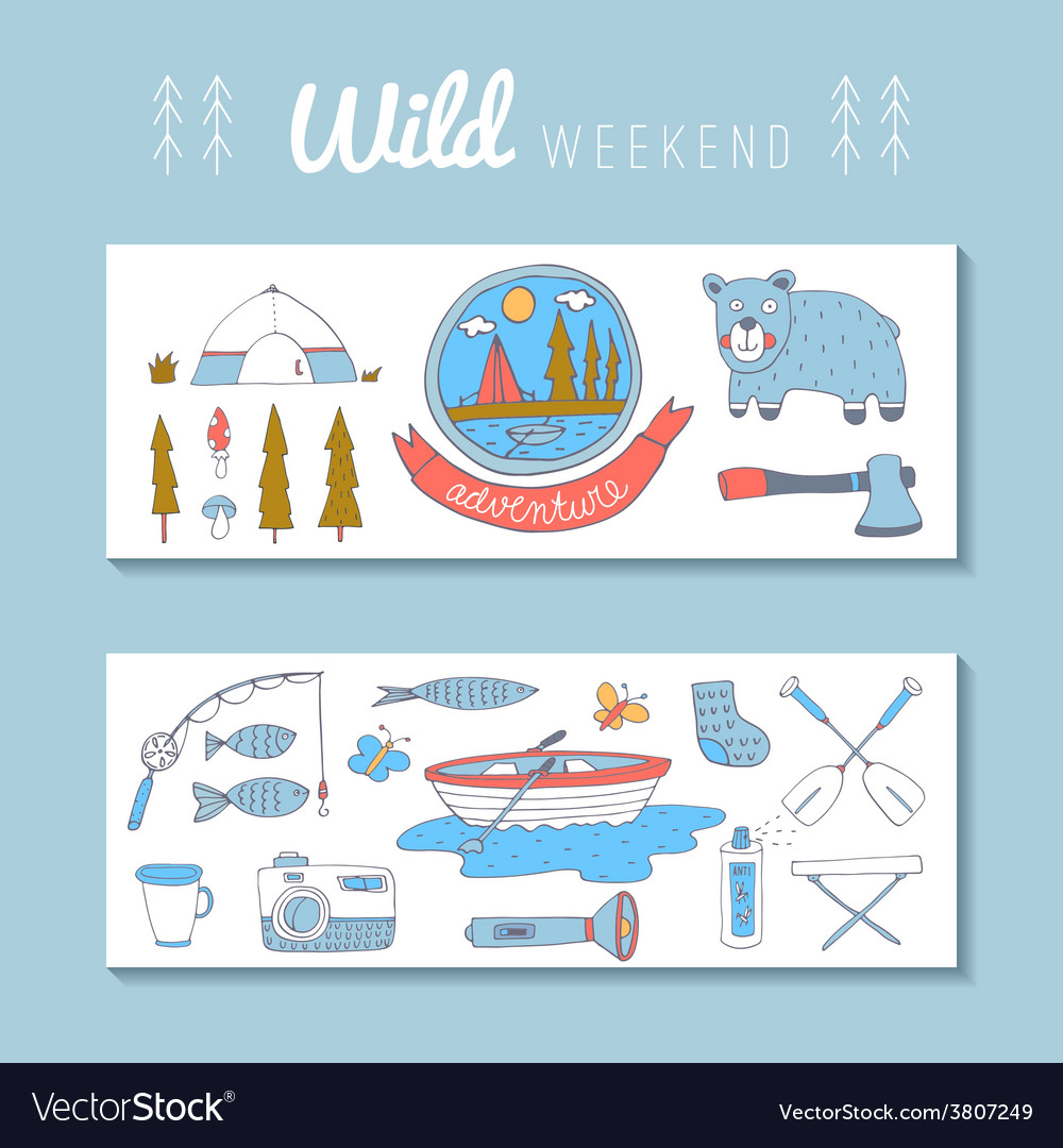 Set of doodle adventure banners vector