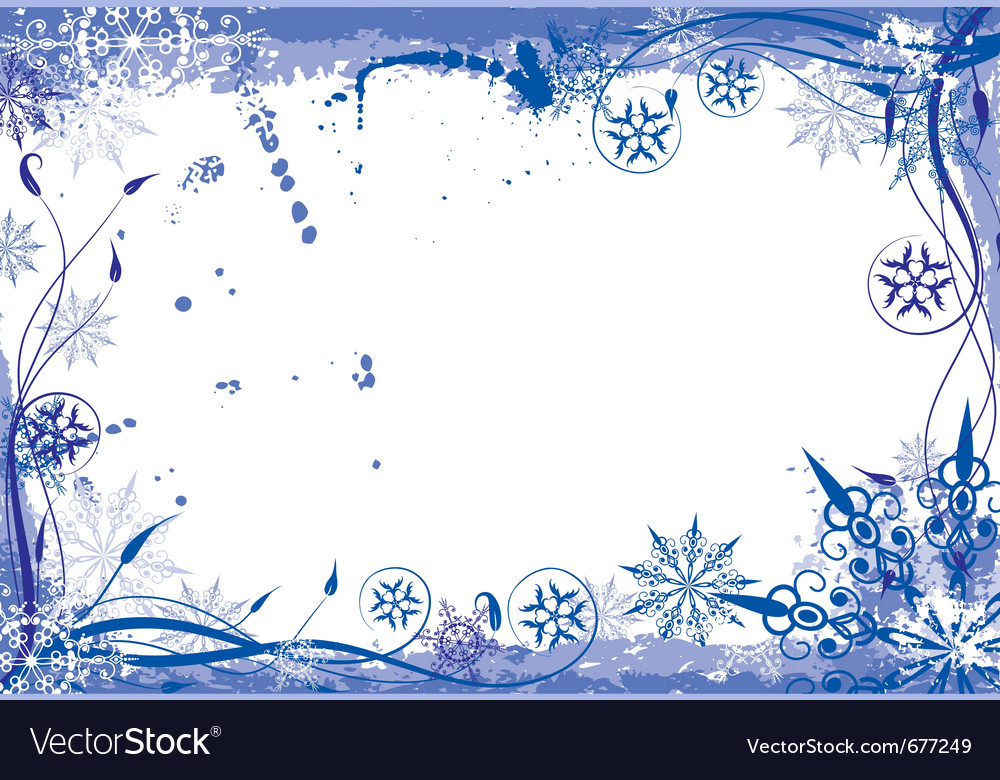 Winter grunge floral frame vector