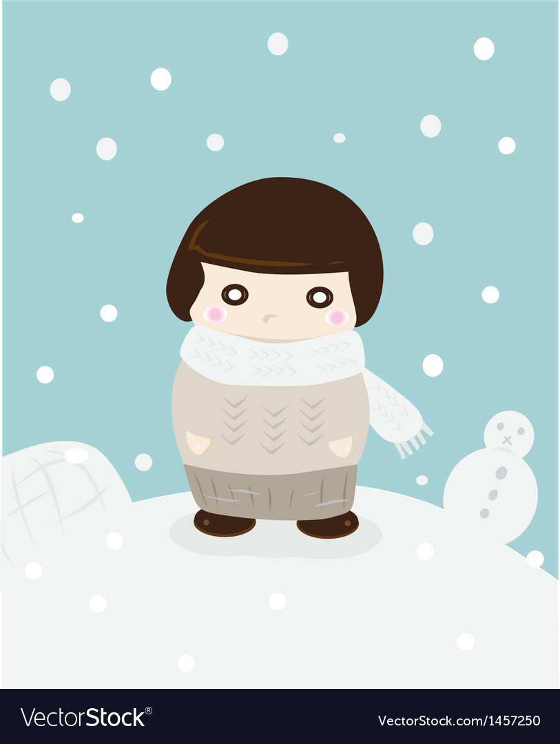 Girl in winter snow cute season greeting vector