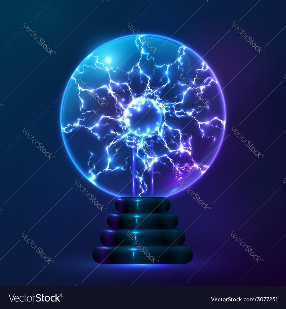 Blue plasma ball lamp vector