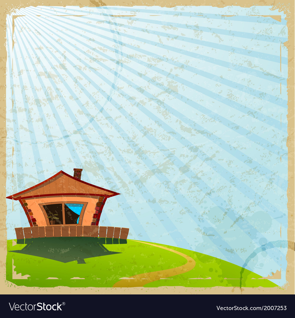 Vintage card with the image of a village house vector