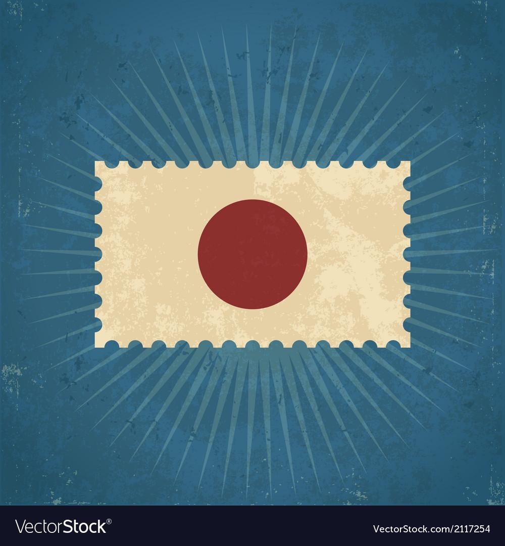 Retro japan flag postage stamp vector