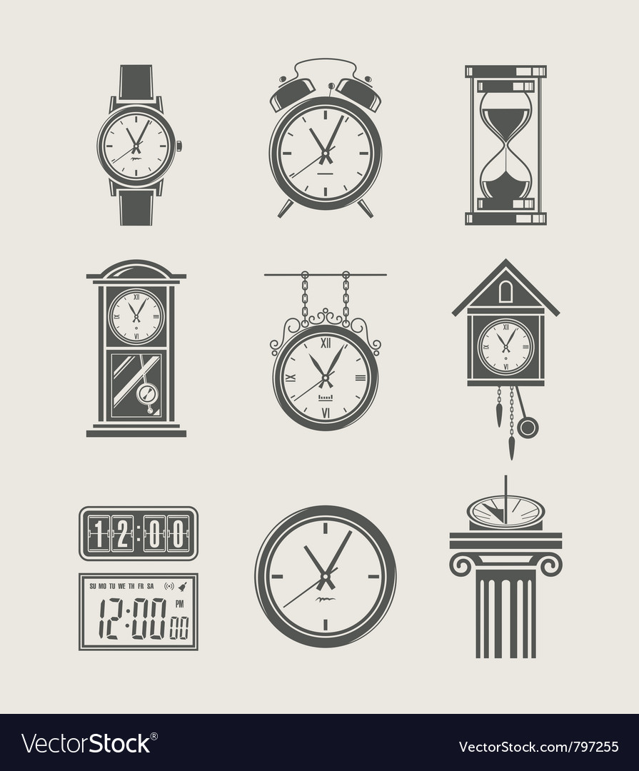 Retro and modern clock set vector