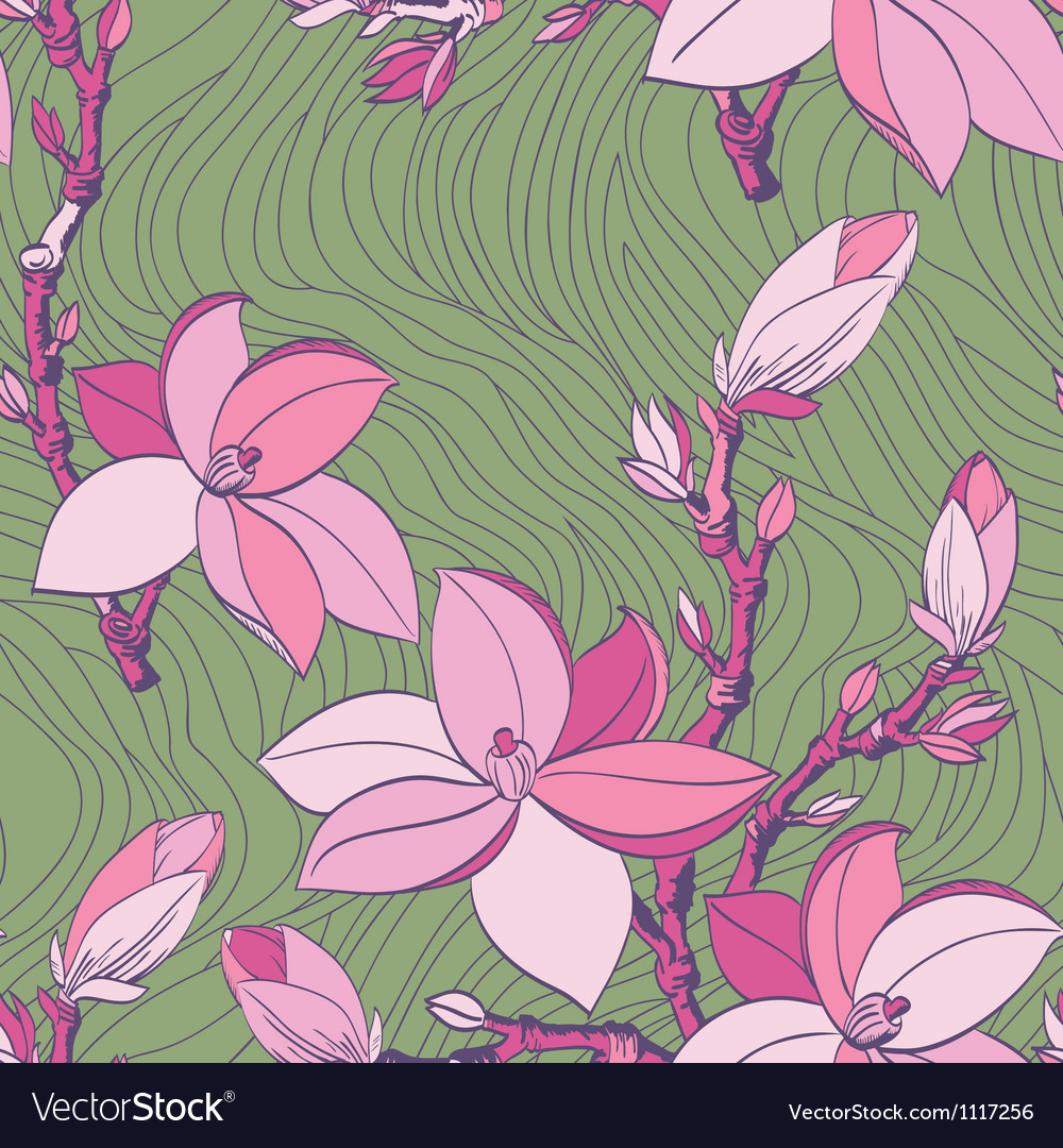 Floral seamless pattern with drawing magnolia vector