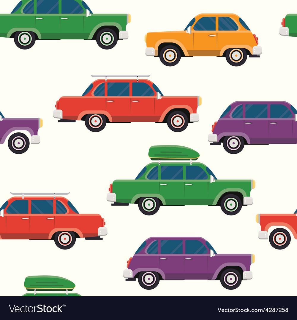 Retro cars seamless pattern vector