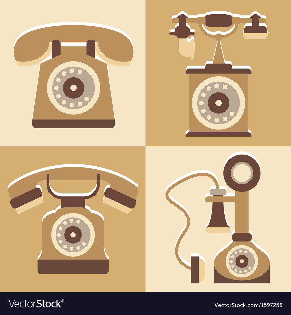 Set of cute telephone and vintage style vector