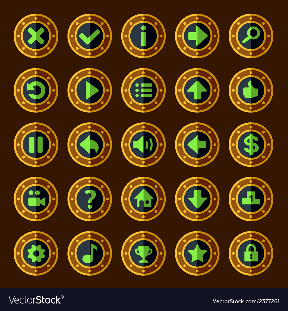 Flat steam punk game buttons vector