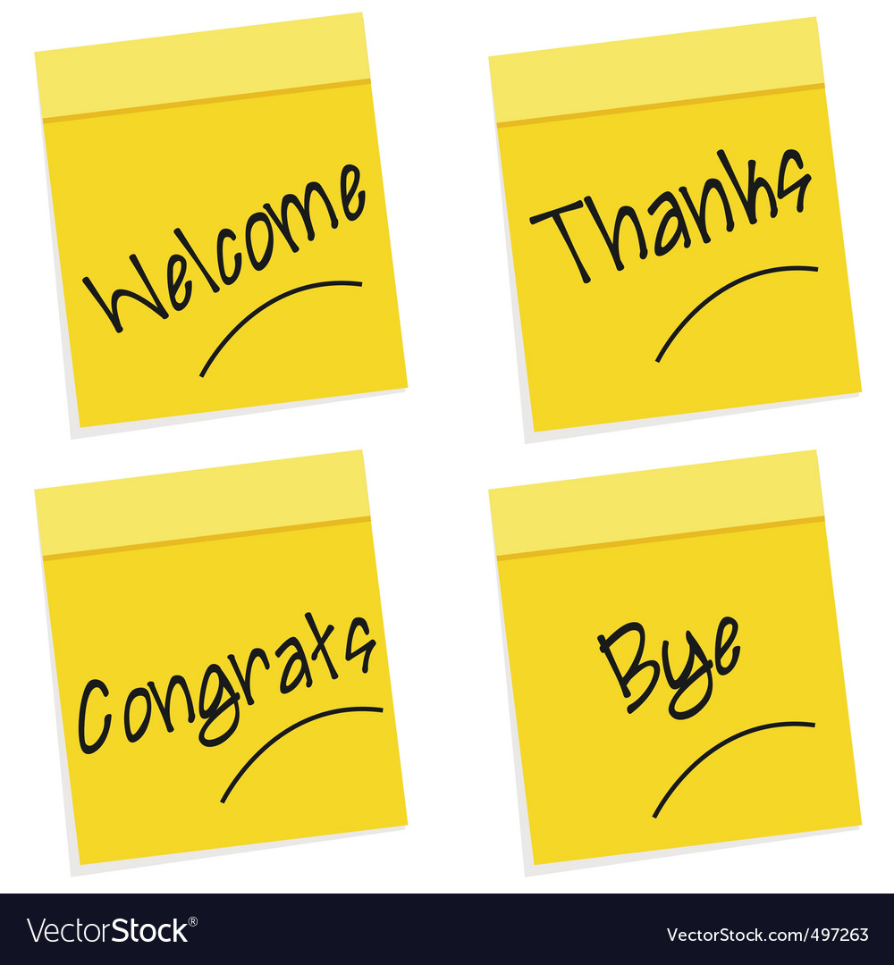 Greetings on sticky notes vector