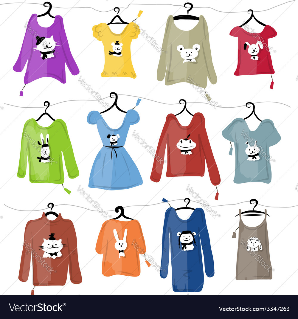 Set of clothes on hangers with funny animal design vector