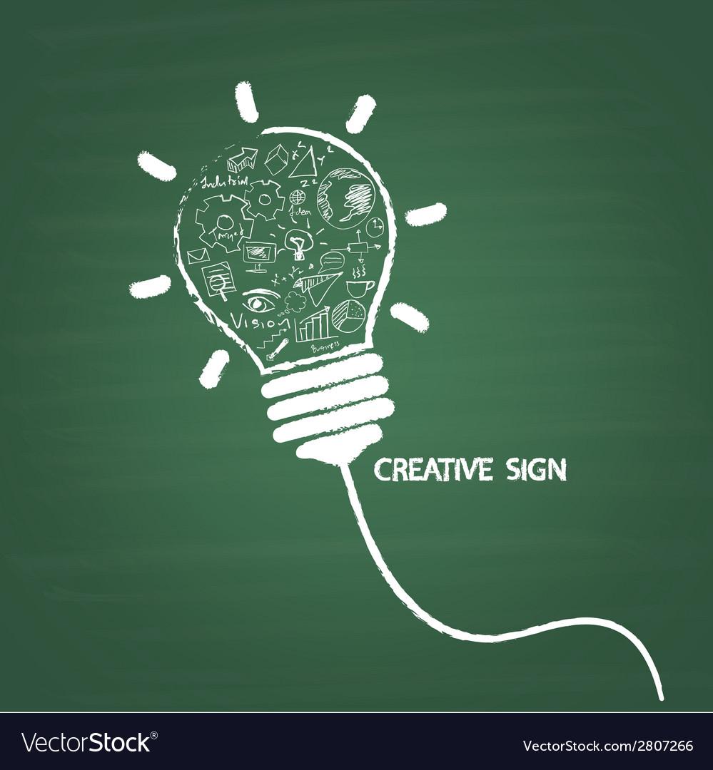 Creative light bulb handwriting on blackboard vector
