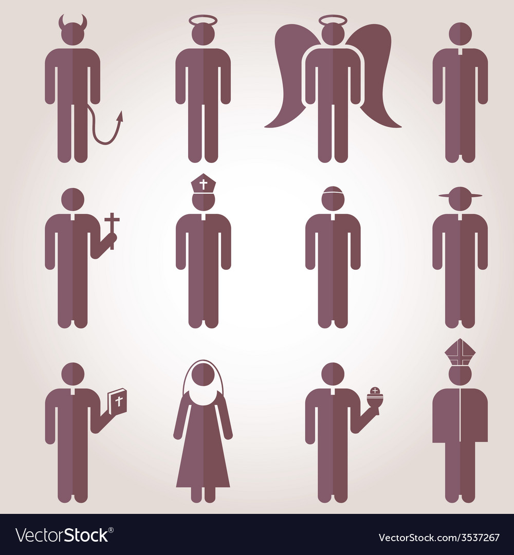 Christian religion tradition pictogram icons vector