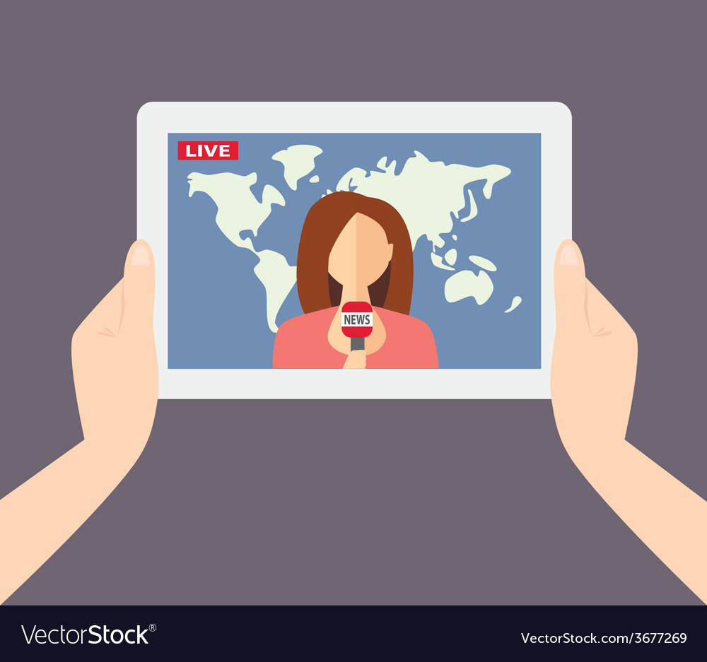 Female tv presenter reporter journalist vector