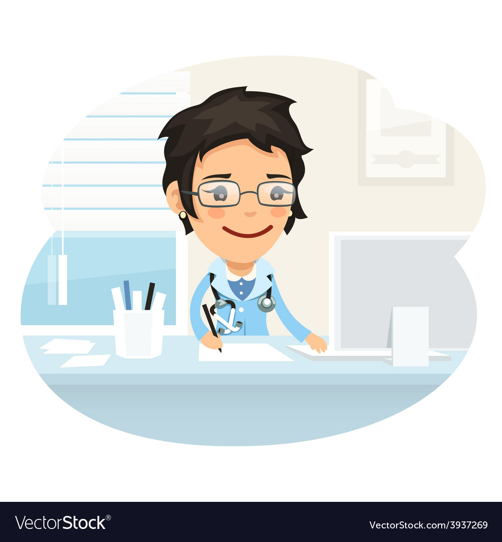 Woman doctor character sitting at the desk vector