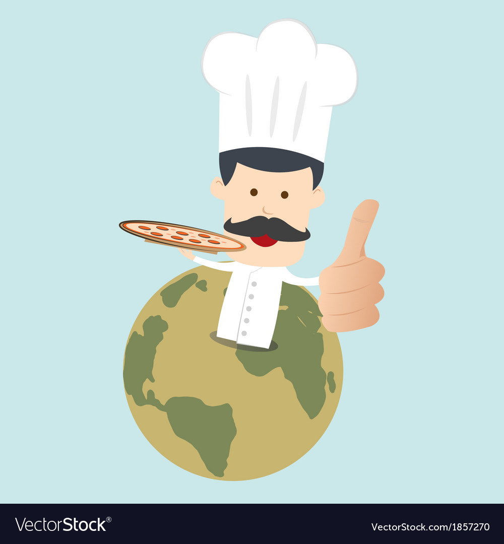 Chef serving pizza on the dish vector