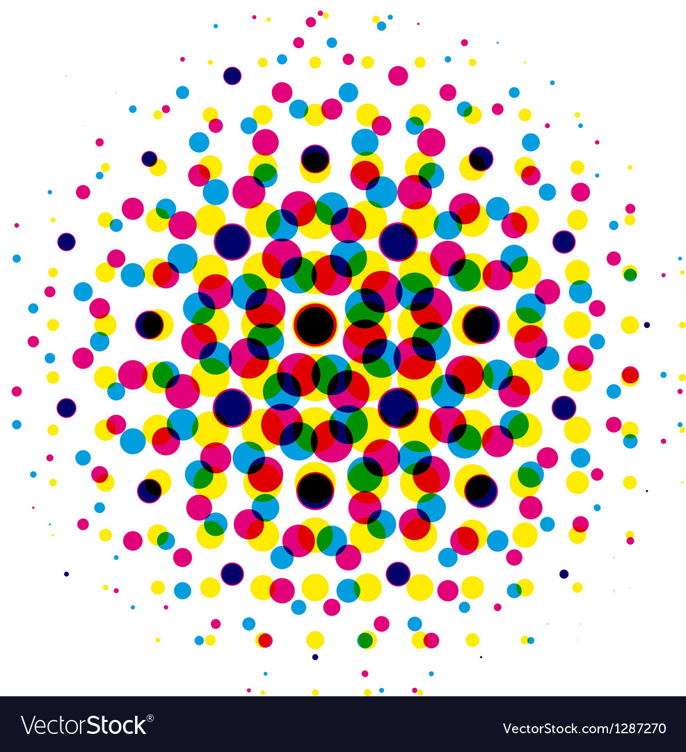 Color dot with cmyk halftone pattern vector
