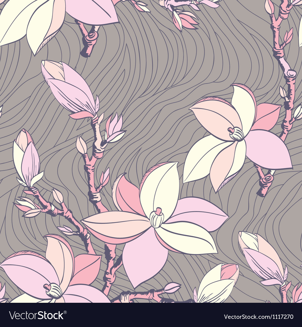 Seamless vintage pattern with magnolia flower vector