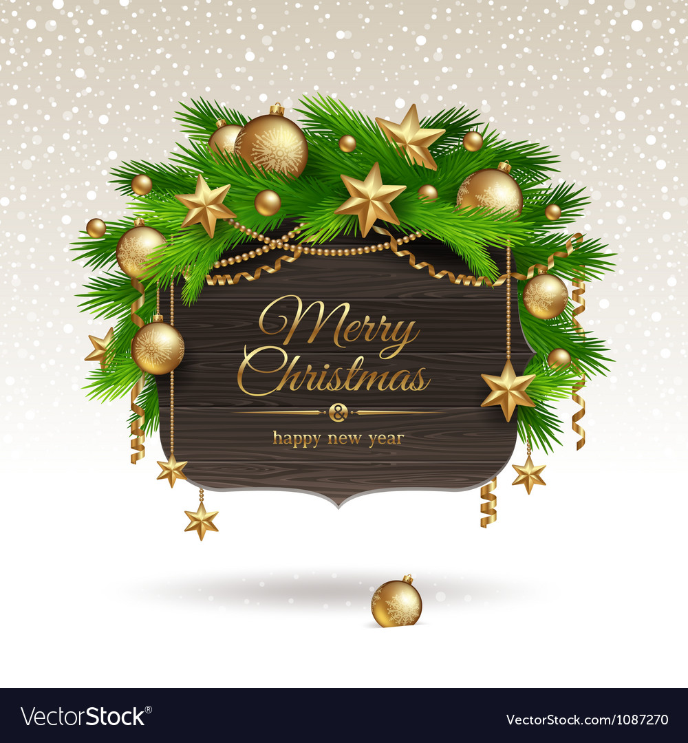 Wooden banner with christmas golden decoration vector