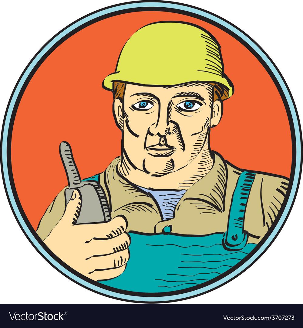Builder carpenter holding radio phone circle retro vector