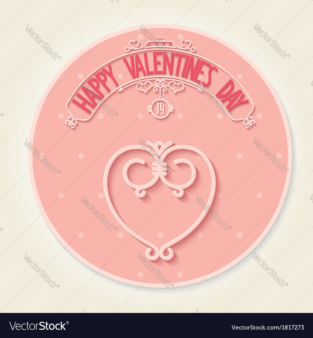 Round card for valentines day vector