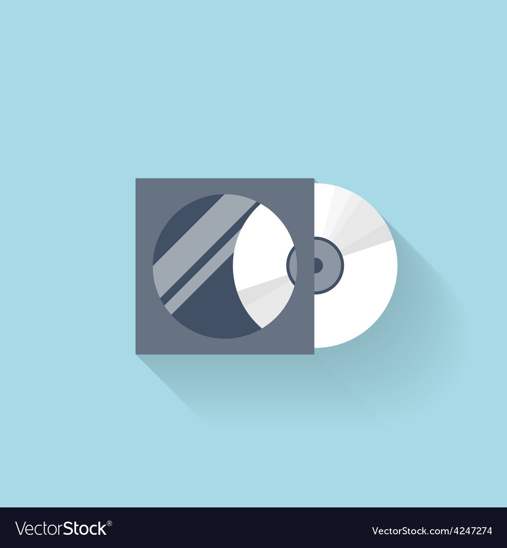 Flat compact disk icon for web vector