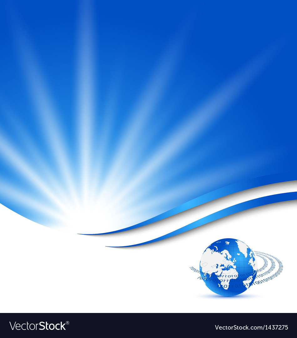 Abstract blue card with earth planet vector