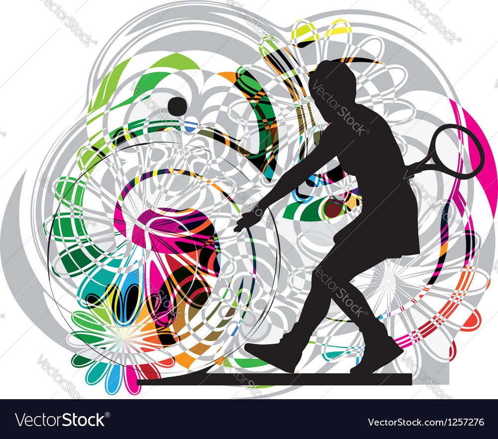 Drawing of woman playing tennis vector
