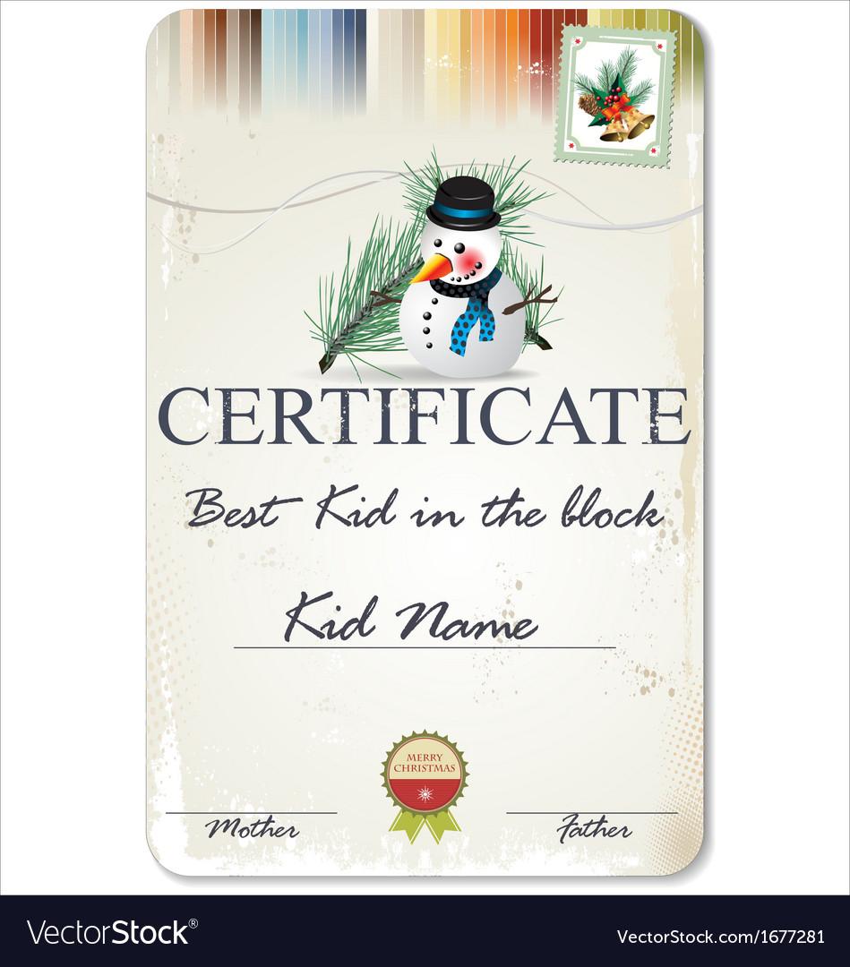 Best kid in the block certificate vector
