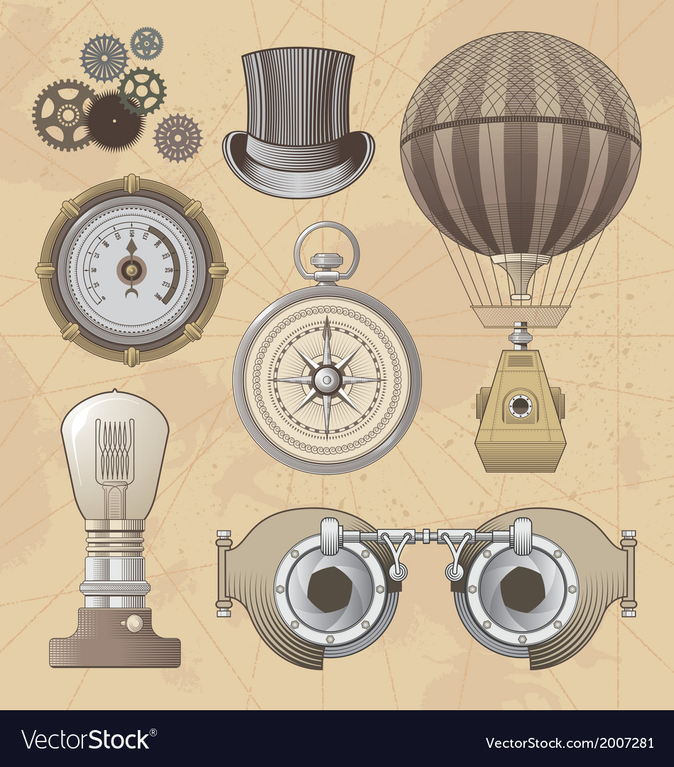 Vintage steampunk design elements vector