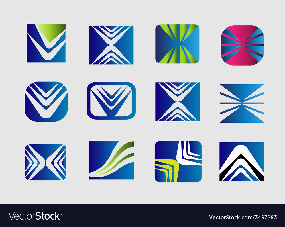 Collection of square logo icon template vector