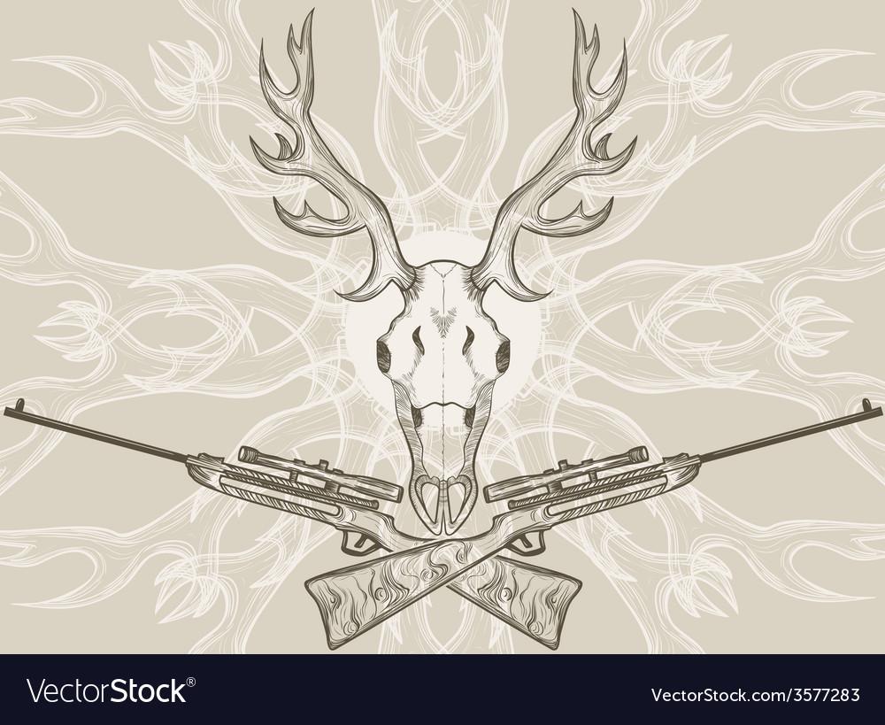 Deer skull and crossed rifles vector