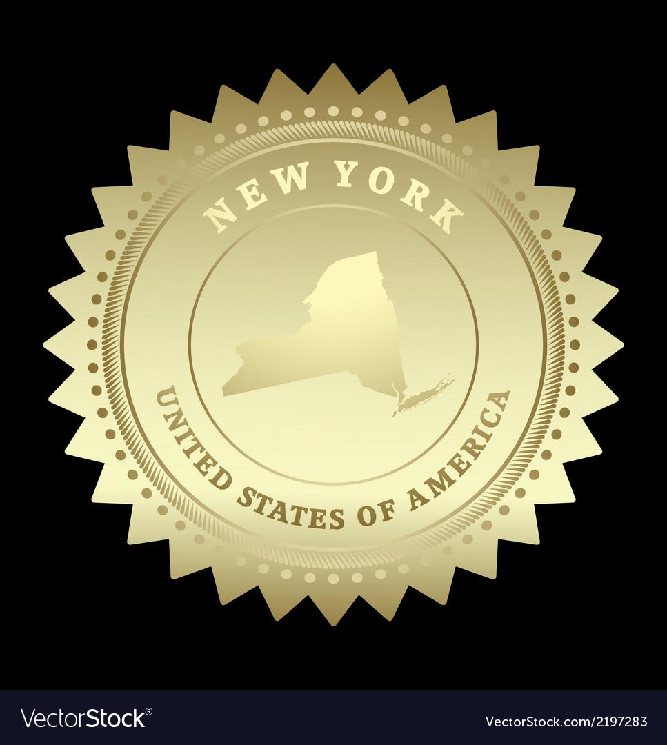Gold star label new york vector