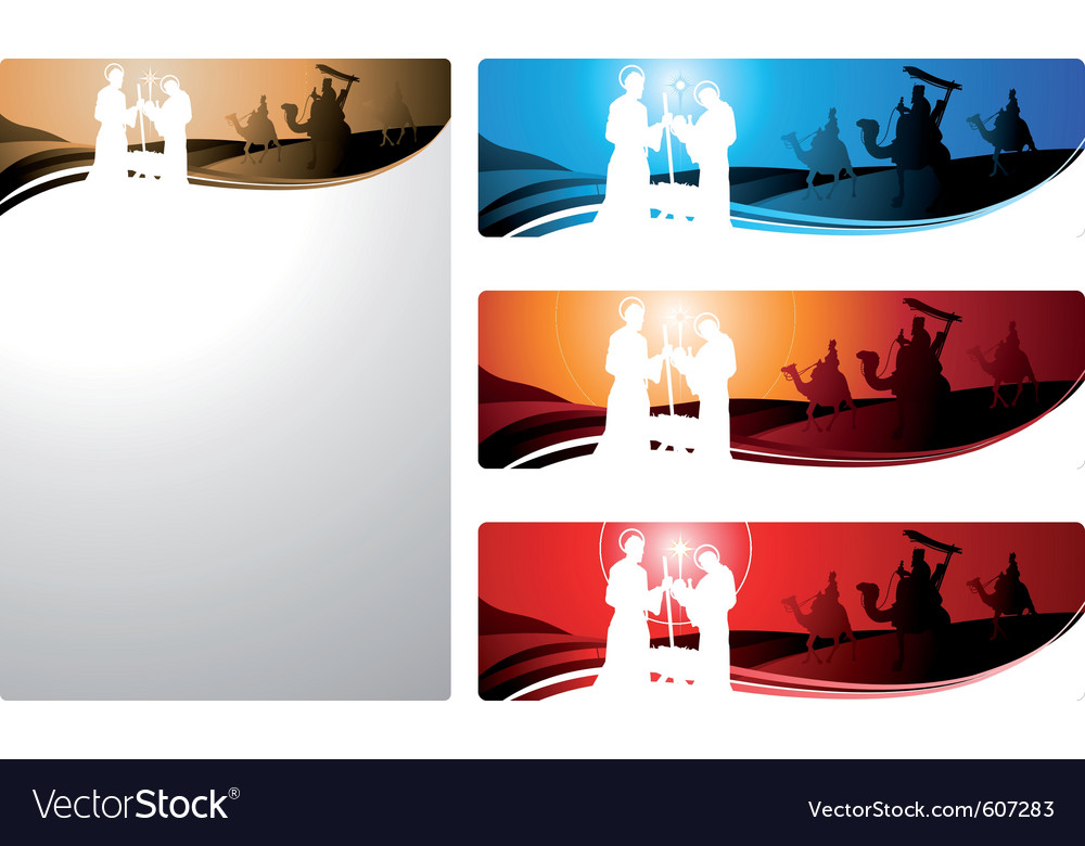 Nativity scene and the three wise men vector