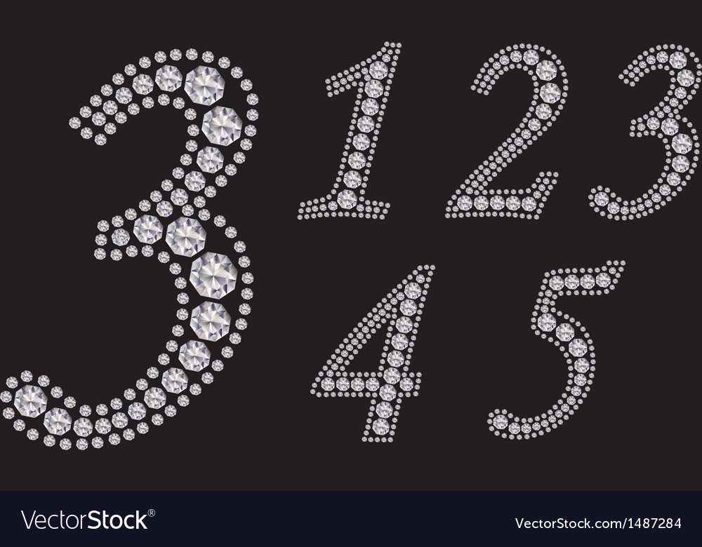 Diamond number set from 1 to 5 vector