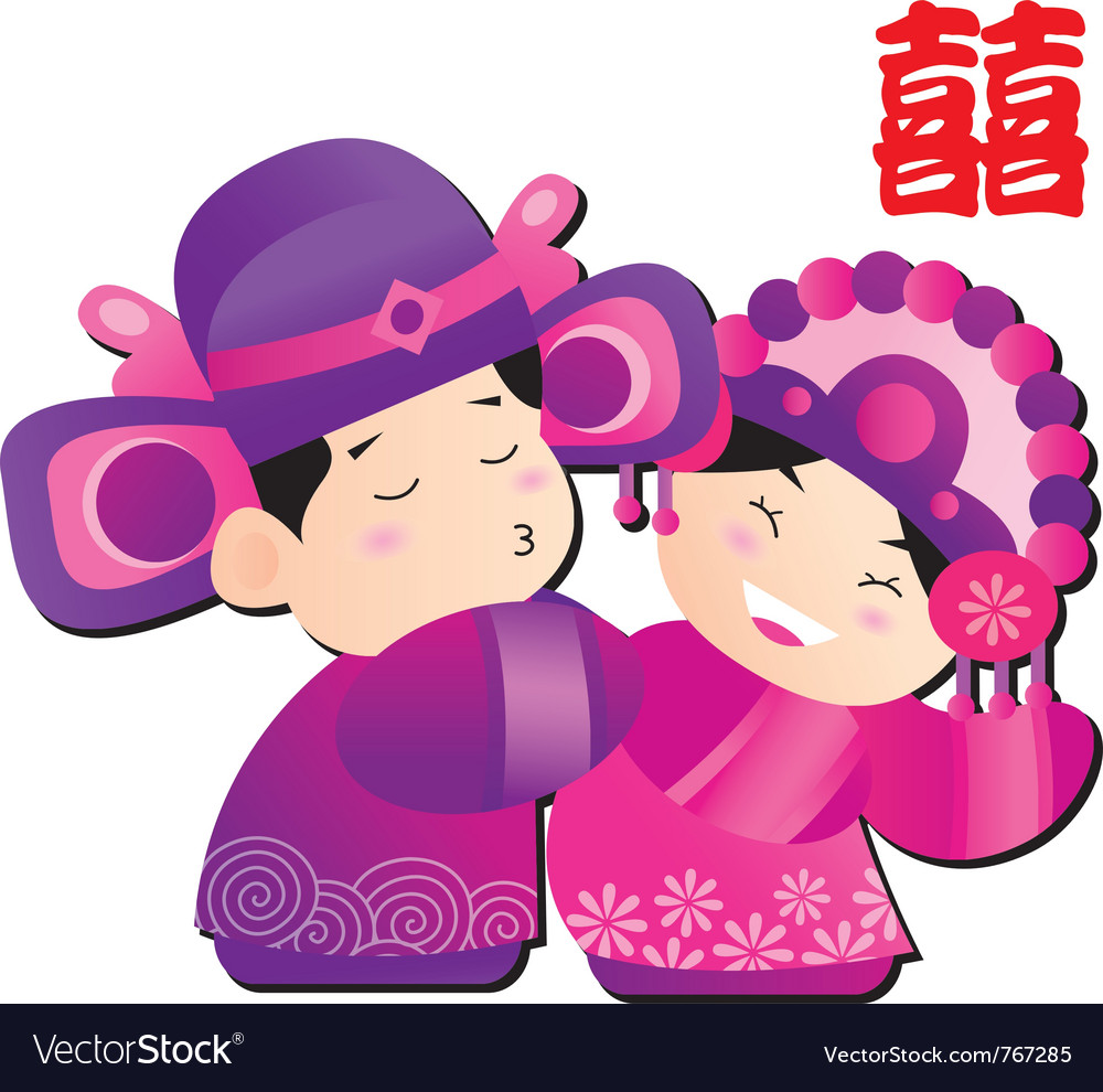 Chinese wedding cartoon vector