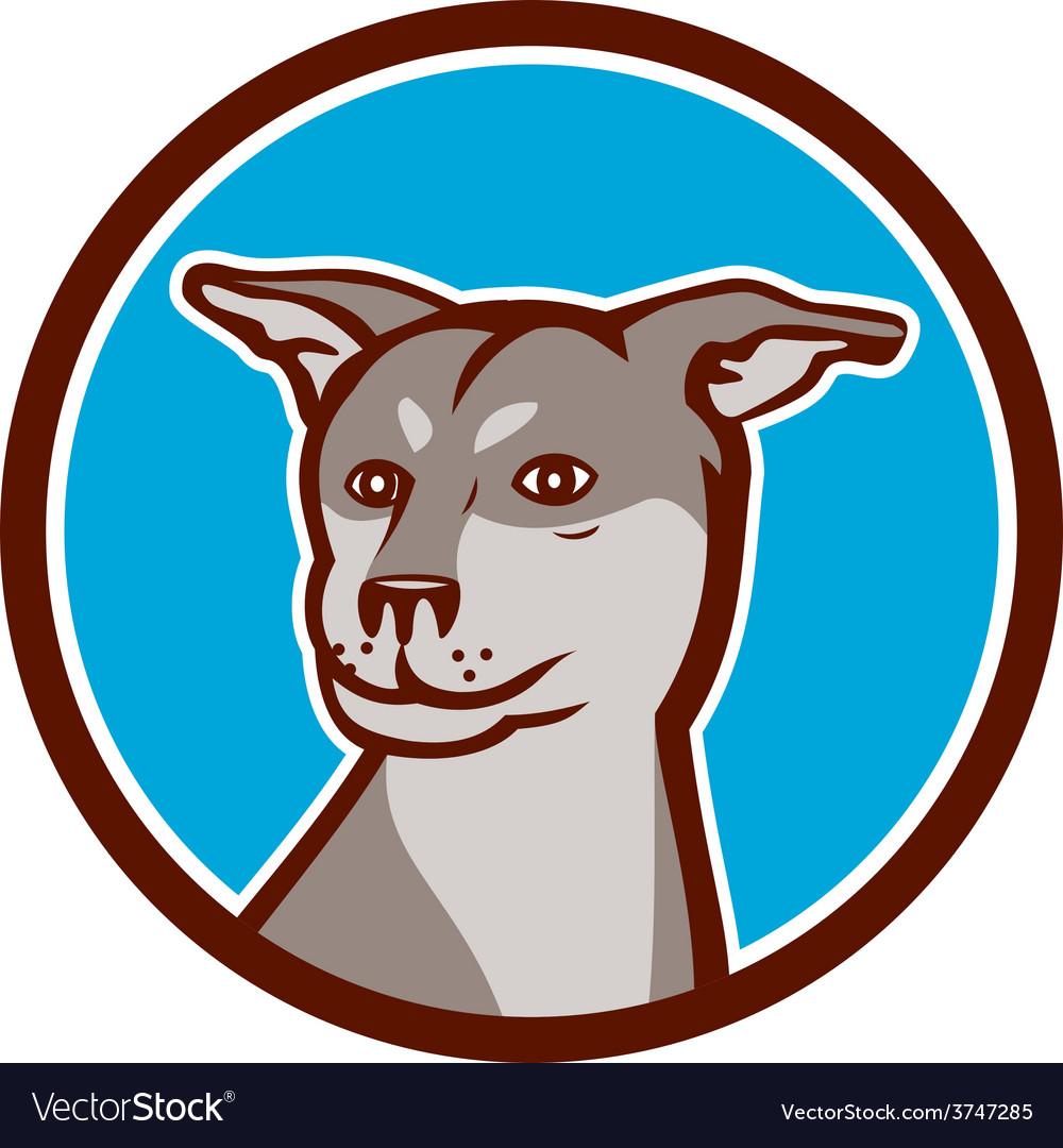 Husky shar pei cross dog head cartoon vector