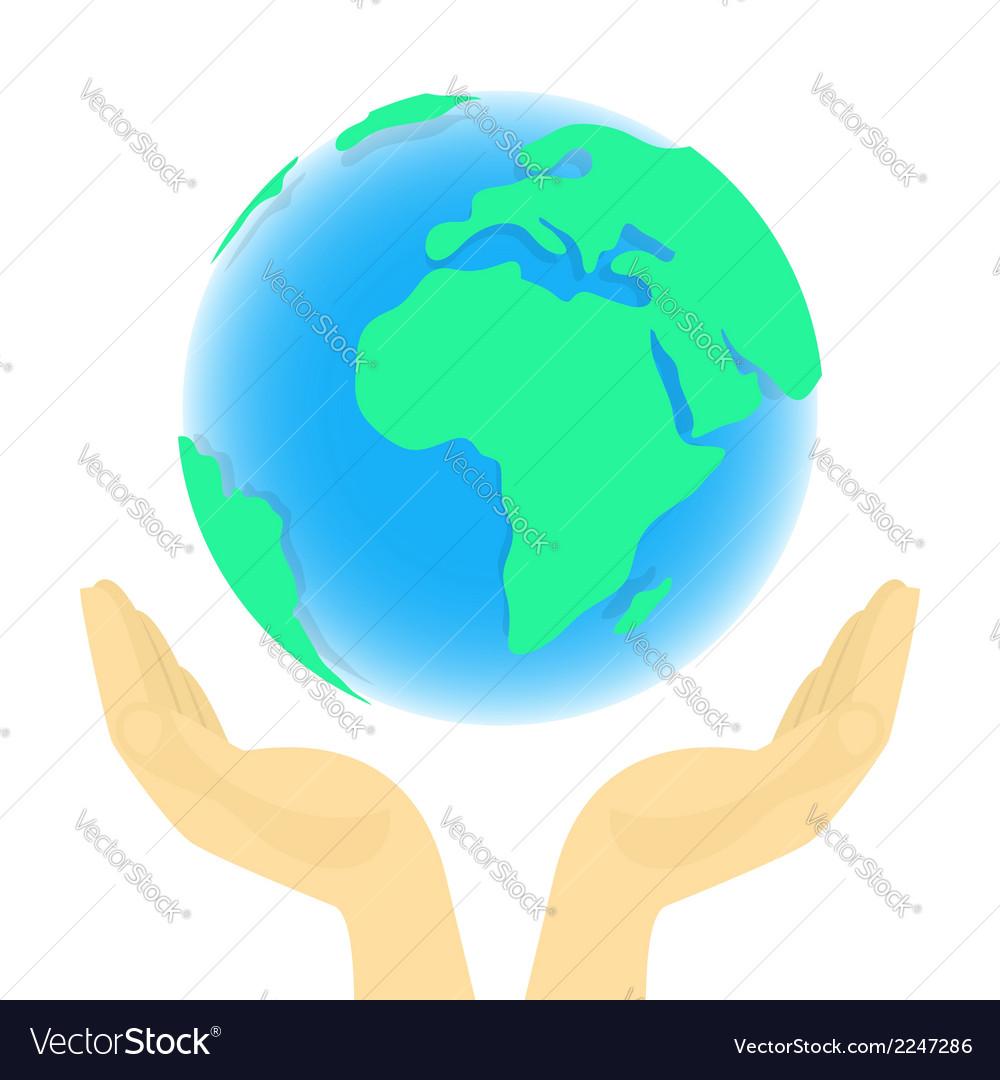 Earth in hands vector