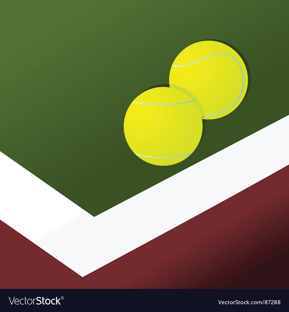Tennis balls on court vector