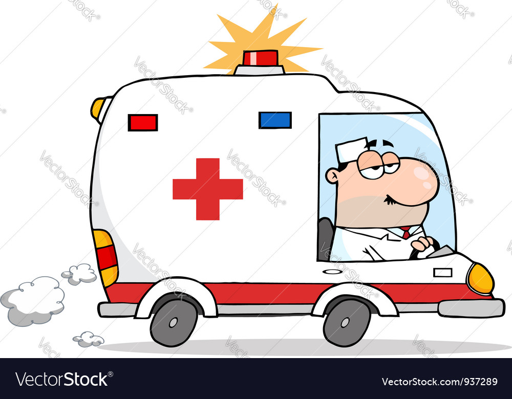 Male doctor driving ambulance vector