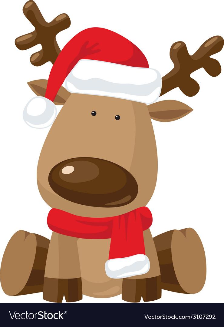Reindeer child in christmas red hat vector