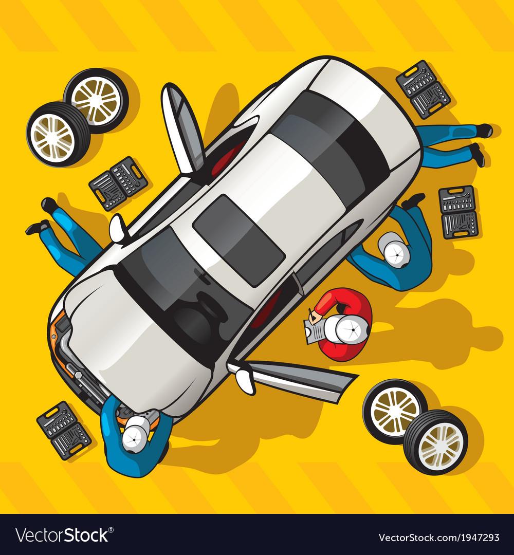 Repair car station vector