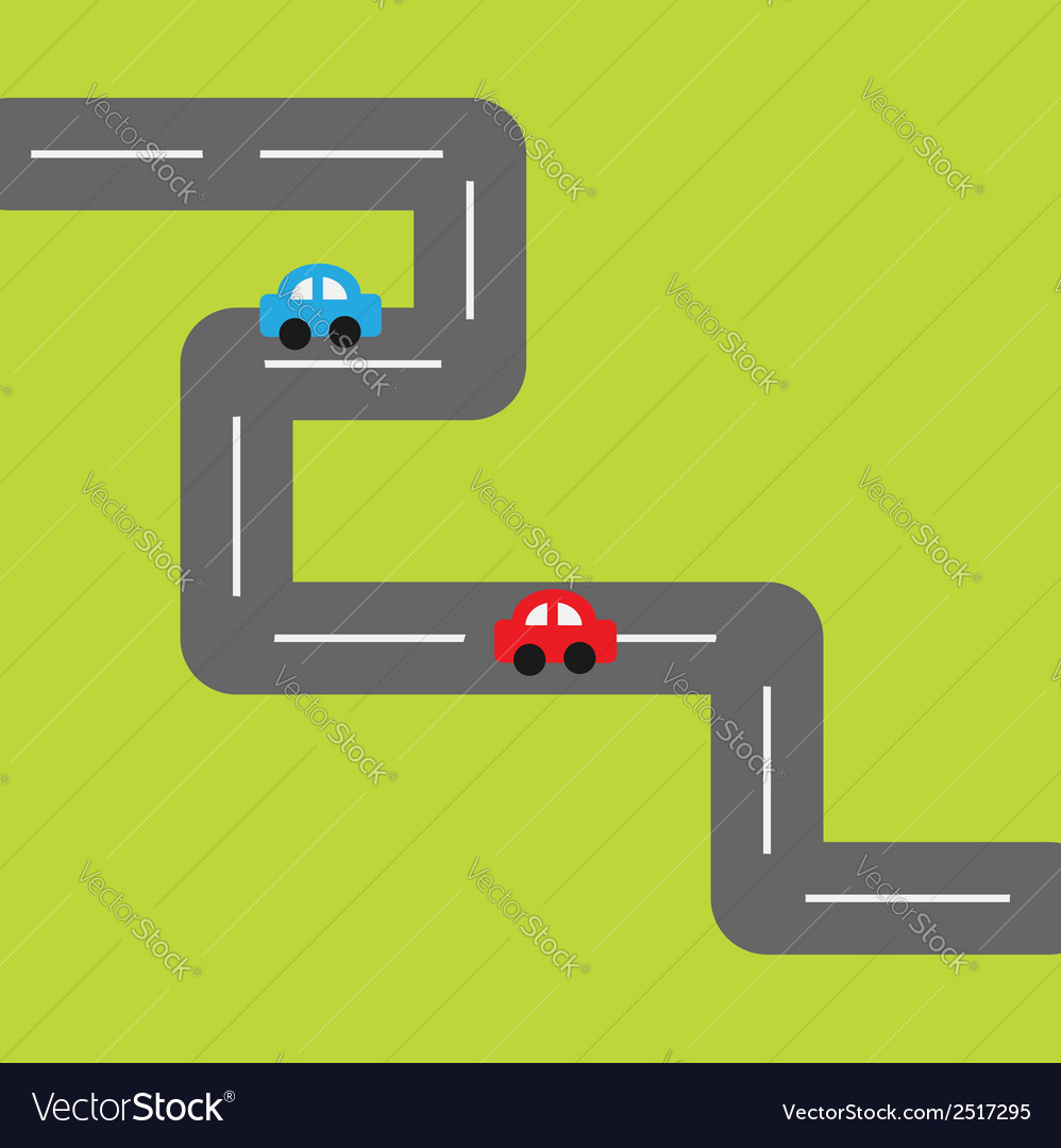 Background with square road and cartoon cars vector
