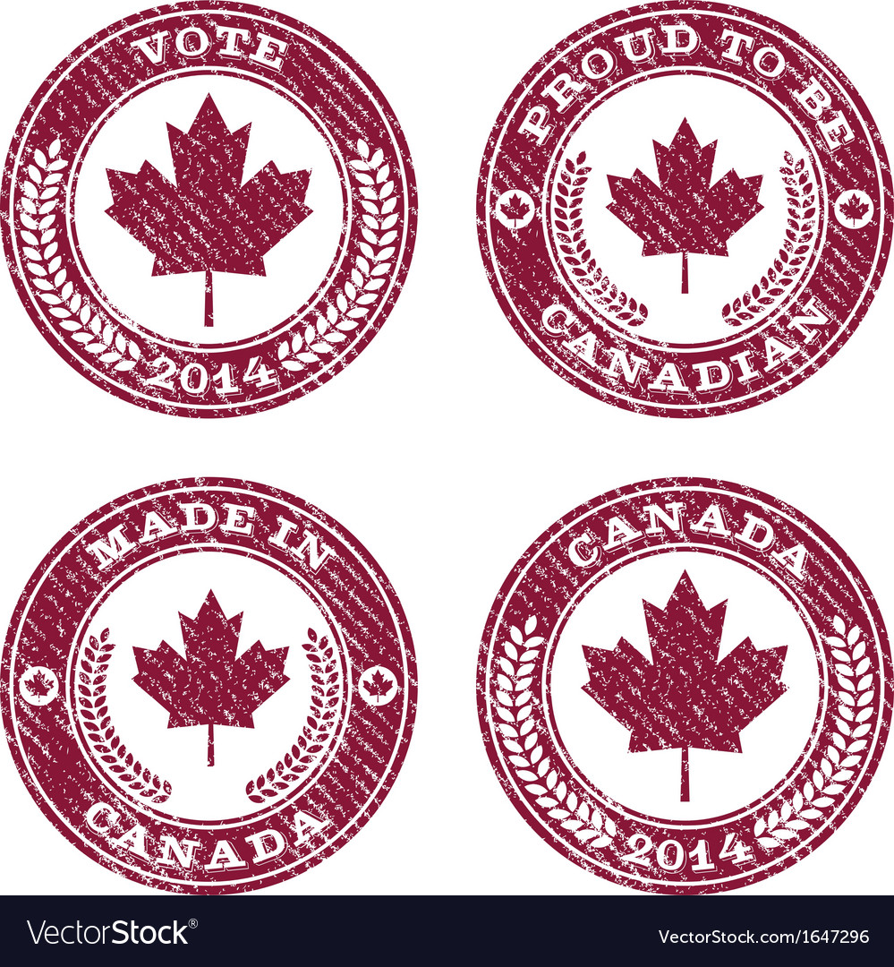 Grunge canada maple leaf emblems vector