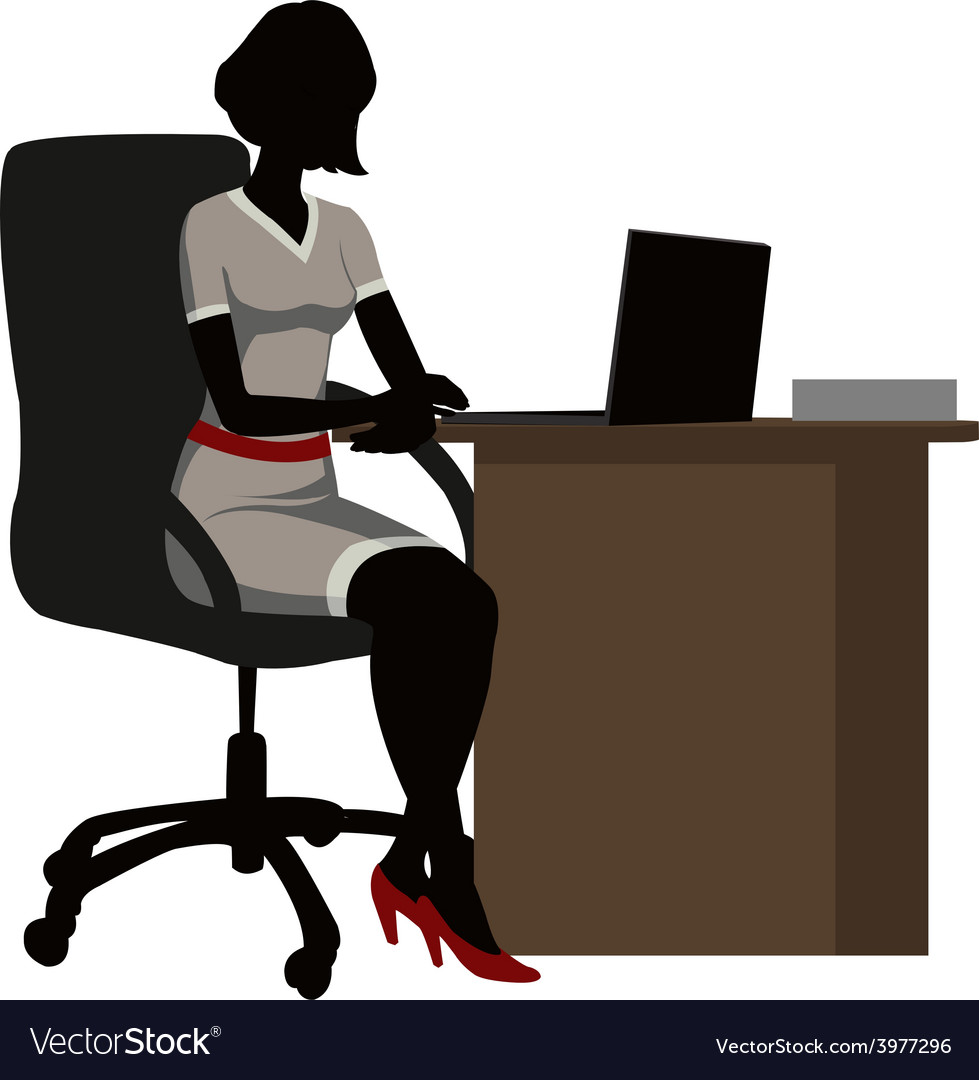 Silhouette office woman vector
