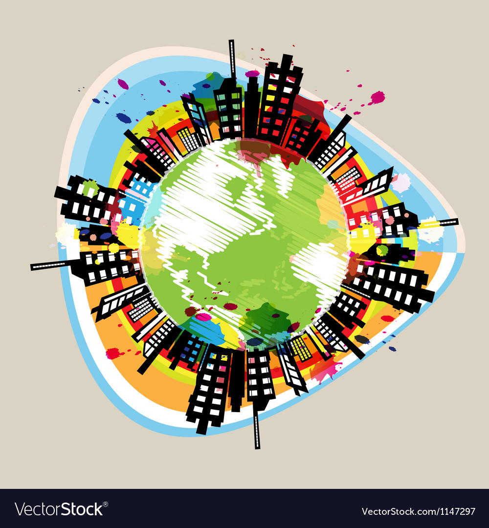 Earth building circle drawing design vector