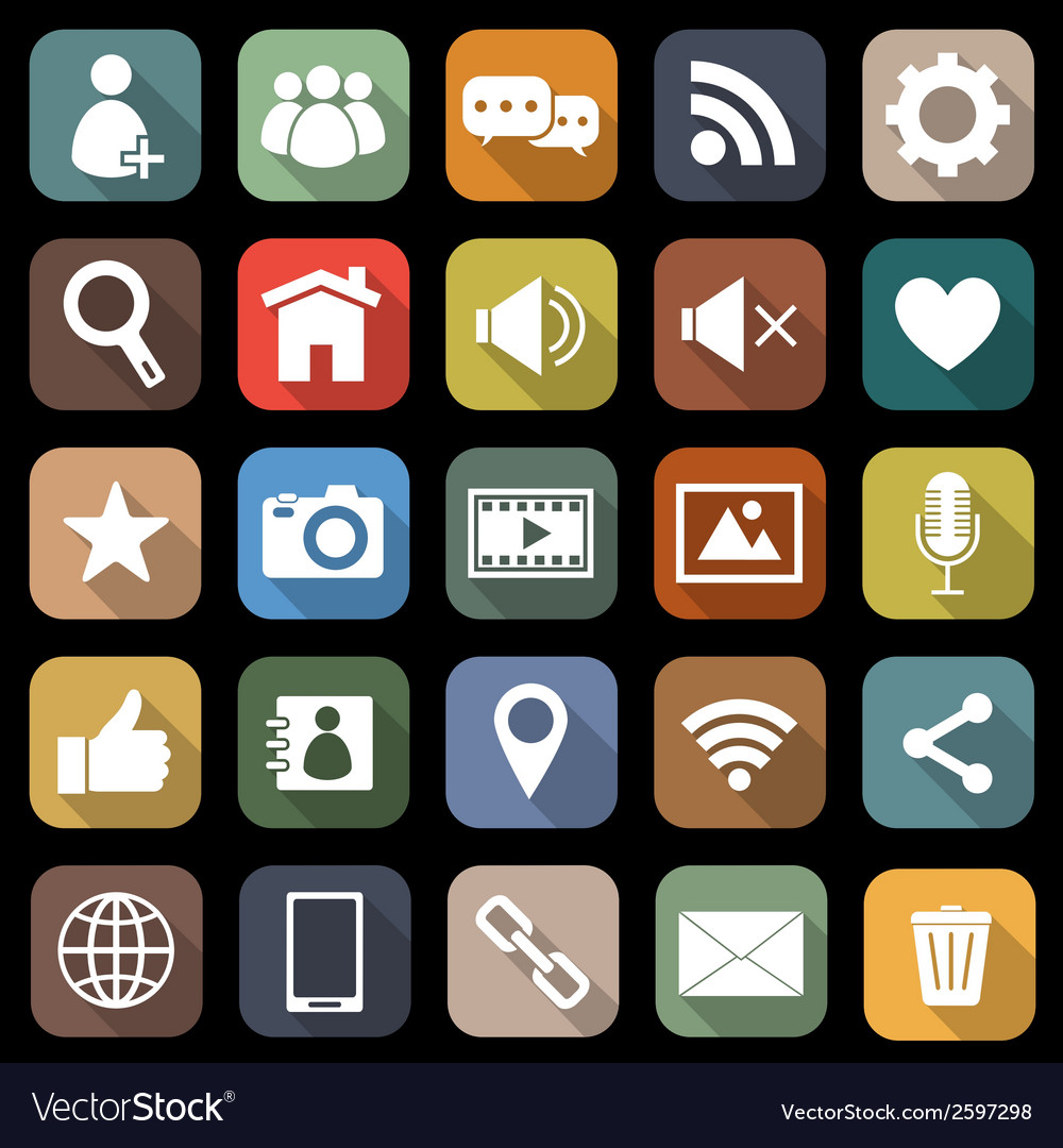 Chat flat icons with long shadow vector