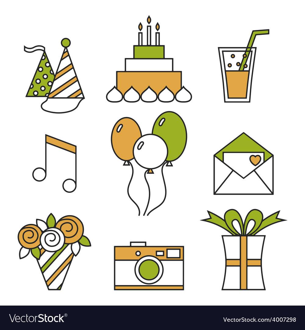 Holiday icons happy birthday set vector